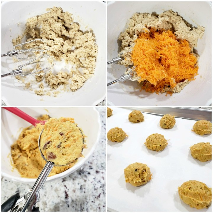 Mixing dough and adding shredded carrots.