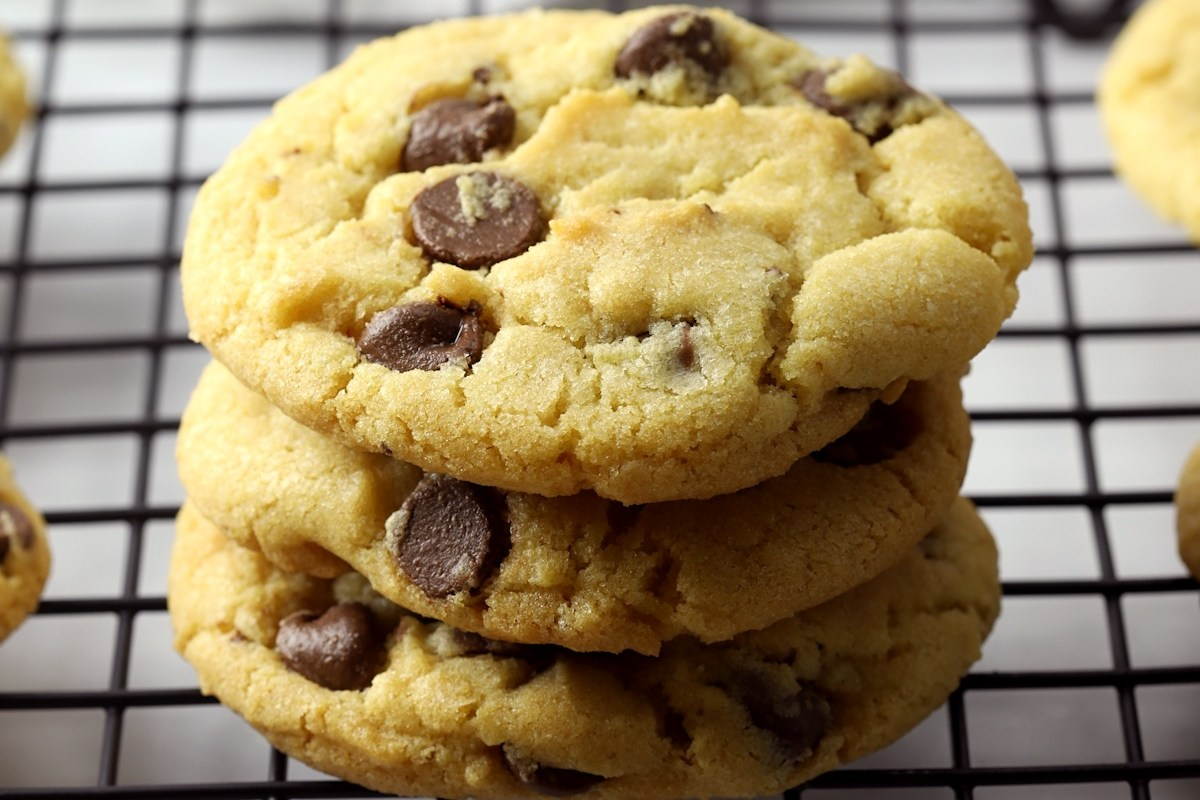 Close up of chocolate chips in cookies.