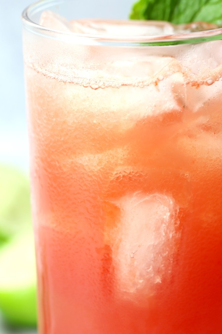 Condensation on the side of a pink cocktail