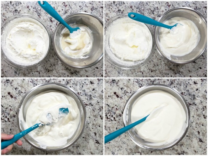 Combining heavy cream with sweetened vanilla mixture.