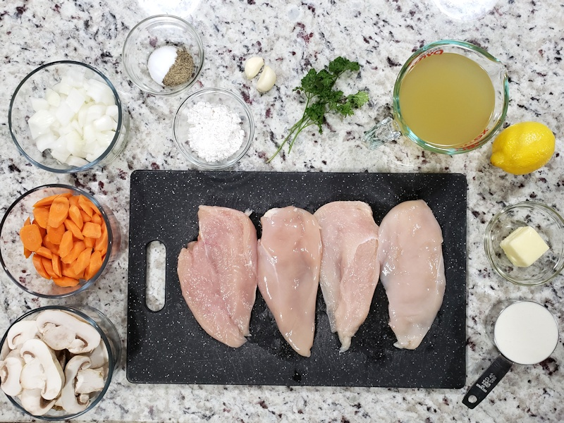 Ingredients for chicken fricassee.