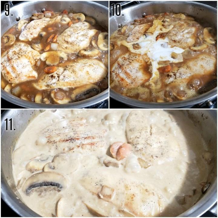 Chicken braising in chicken broth with vegetables.