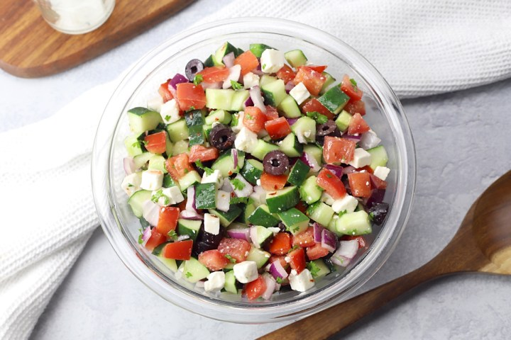 Glass bowl filled with Shepherd's Salad.