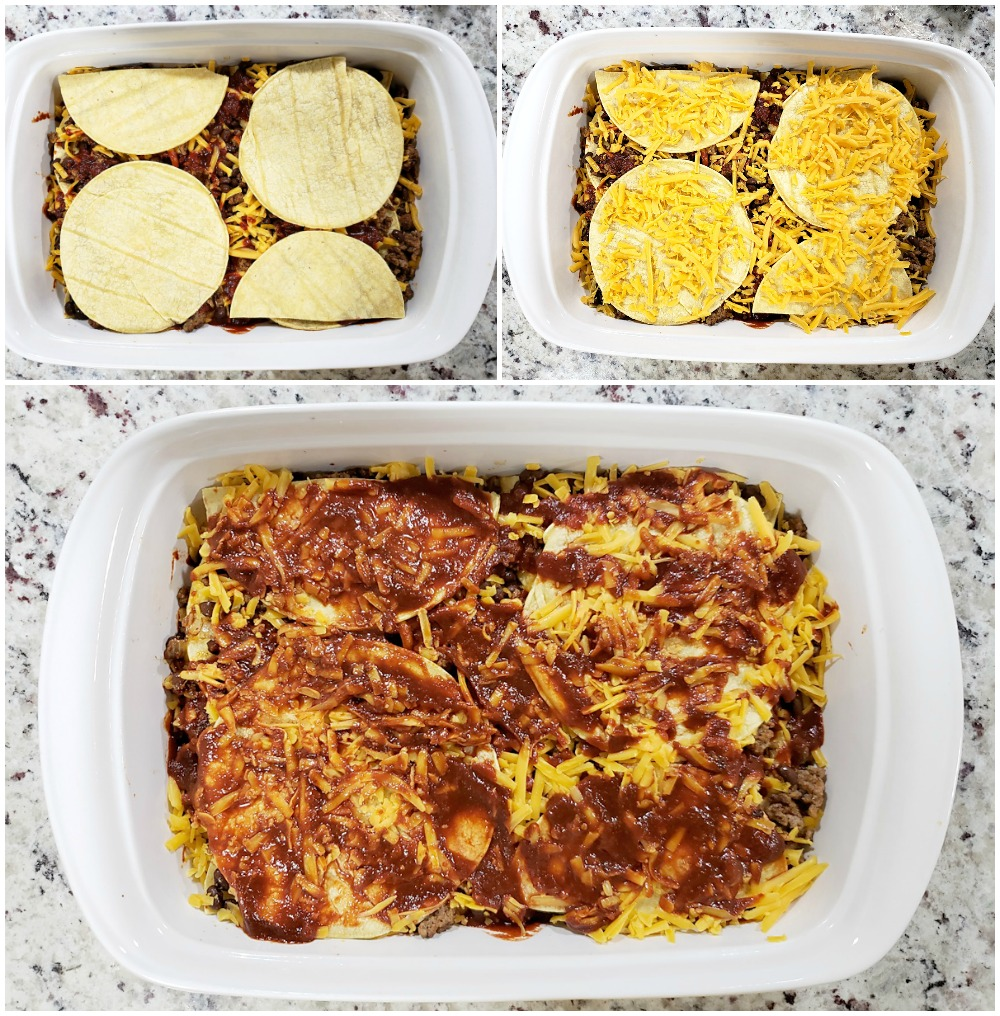 Adding the top layers to an enchilada casserole.