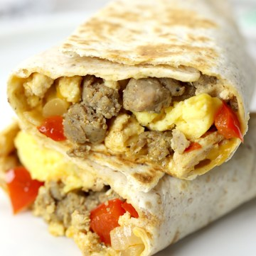 Close up of inside of a freezer breakfast burrito.