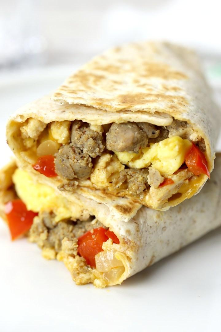 Close up of inside of a freezer breakfast burrito.