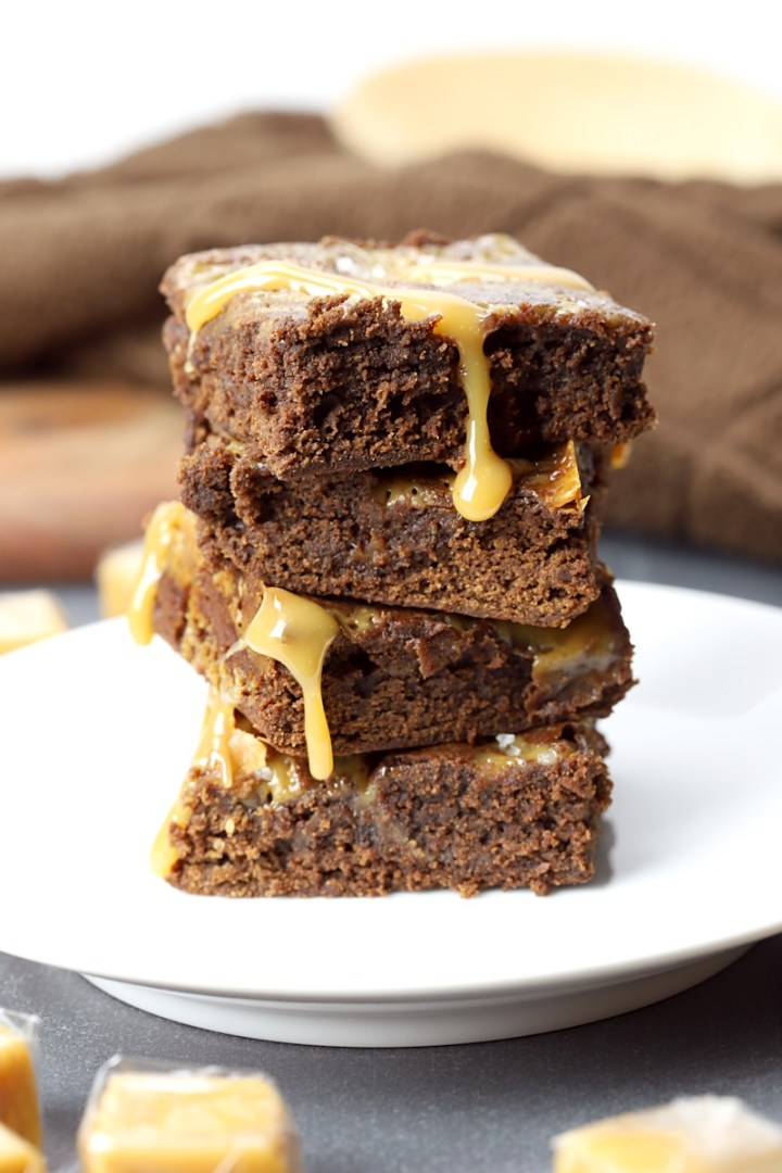 Stack of salted caramel brownies.