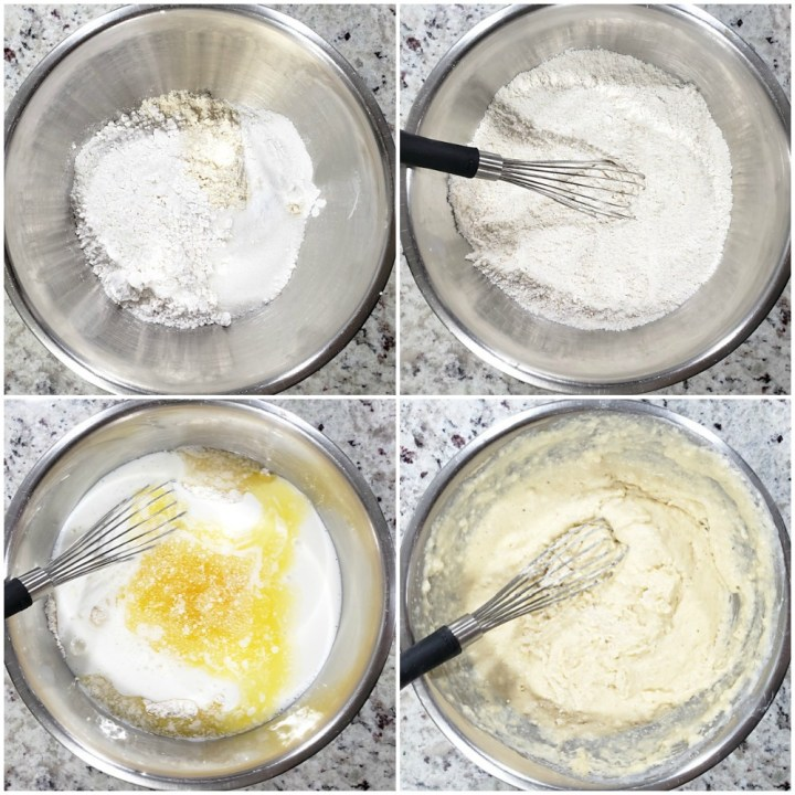 Mixing the batter for skillet cornbread.