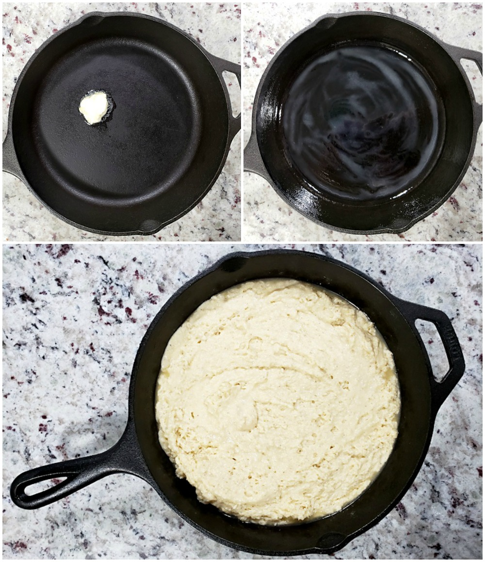 Buttering a cast iron skillet before adding batter.