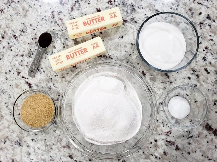Ingredients for heidesand cookies.