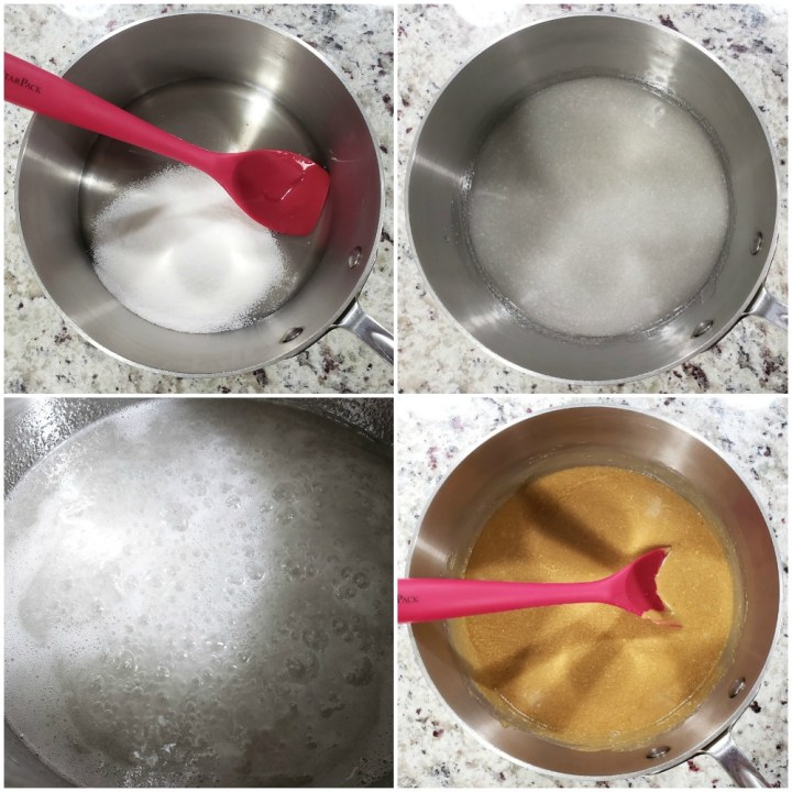 Mixing the base of scotcheroos.