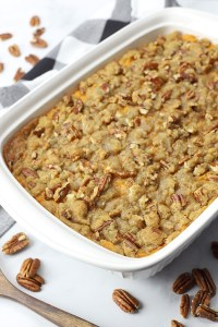 Pecan sugar topping on a casserole.
