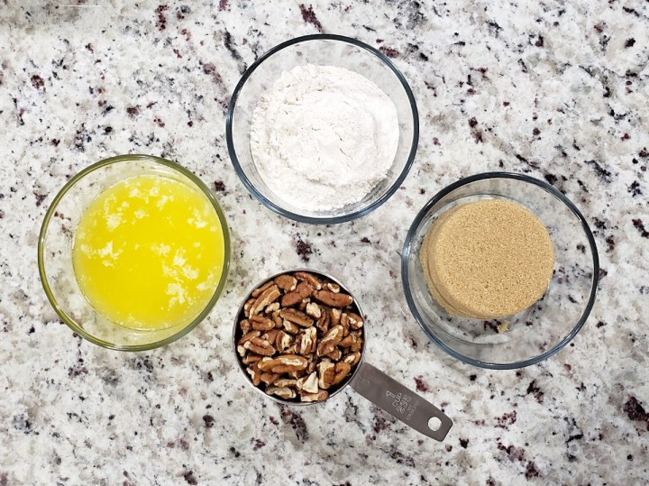Ingredients for pecan crumble topping.