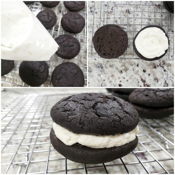 Filling chocolate cookies with frosting.