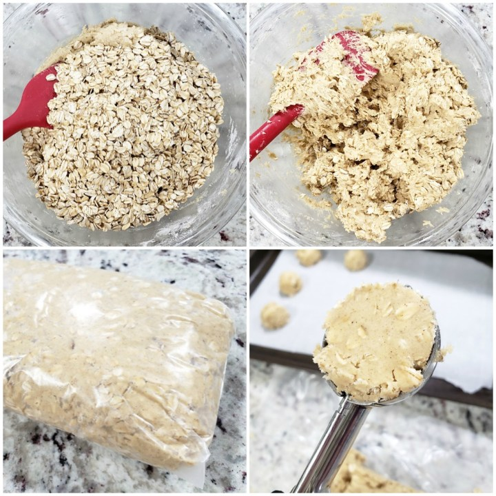 Adding oats to a cookie dough and scooping for baking.