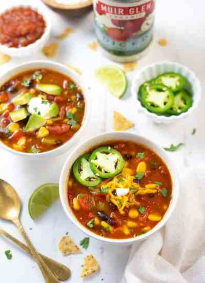 taco soup topped with sliced jalapenos.