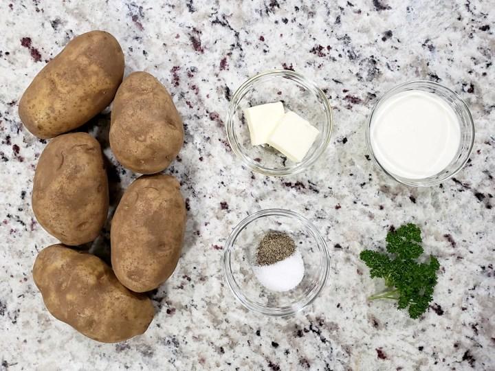 Ingredients to make mashed potatoes.