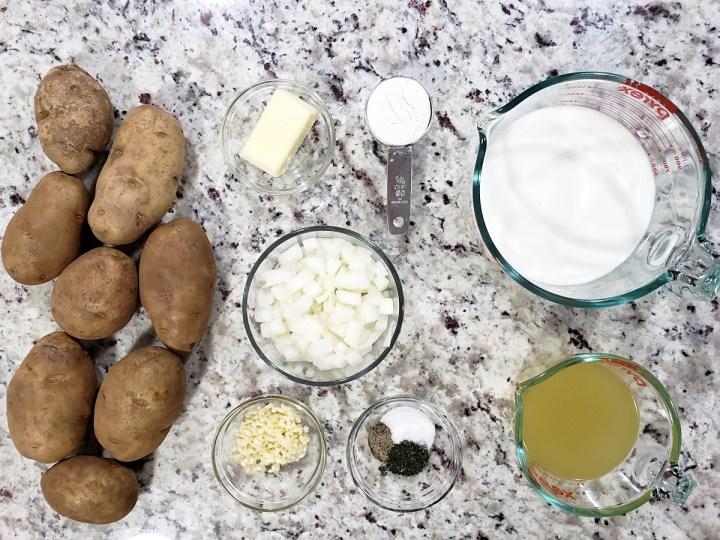 Ingredients to make scalloped potatoes.
