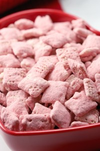 Pink strawberry puppy chow.