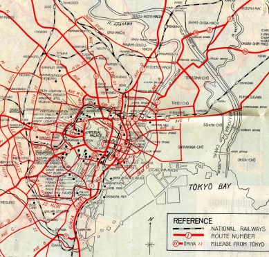 American Occupied Tokyo map - central