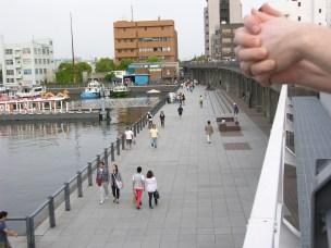 Yokohama waterfront elevated train bridge