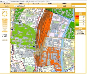 Heat map of crime around Shinagawa Station, Tokyo.
