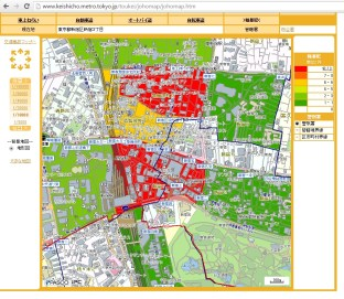 Heat map of crime around Shunjuku Station, Tokyo.
