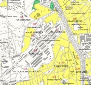 UR Akabanedai danchi site 1945 map