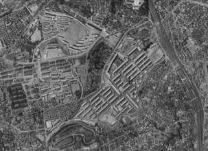 Aerial photo of UR Akabanedai danchi, circa 1961-1964.