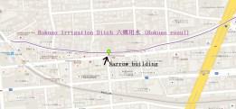 Narrow building former river Ota-ku Tokyo aerial map