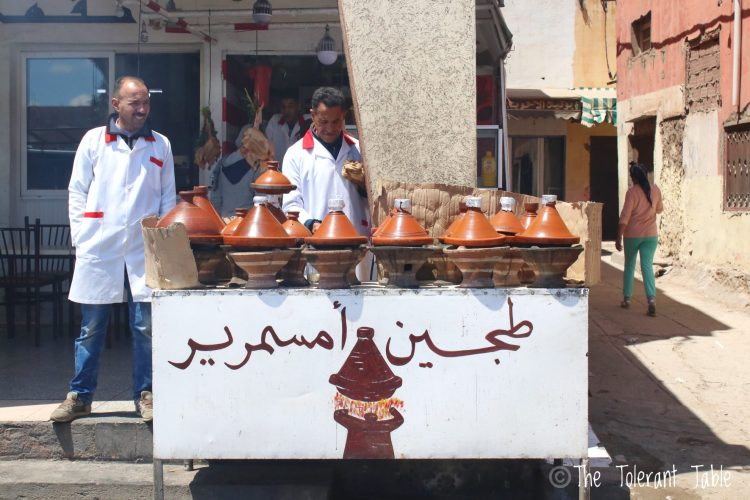 Streetside vendors selling tagine in Morocco