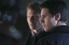 """The Tomorrow People -- """"Brother's Keeper"""" -- Image Number: TP114a_0464.jpg -- Pictured (L-R): Mark Pellegrino as Dr. Jedikiah Price and Robbie Amell as Stephen -- Photo: Katie Yu/The CW -- ©2014 The CW Network, LLC. All rights reserved."""