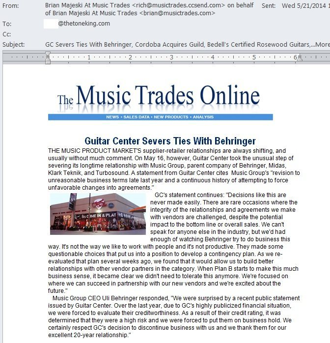 Guitar Center Severs Ties with Behringer