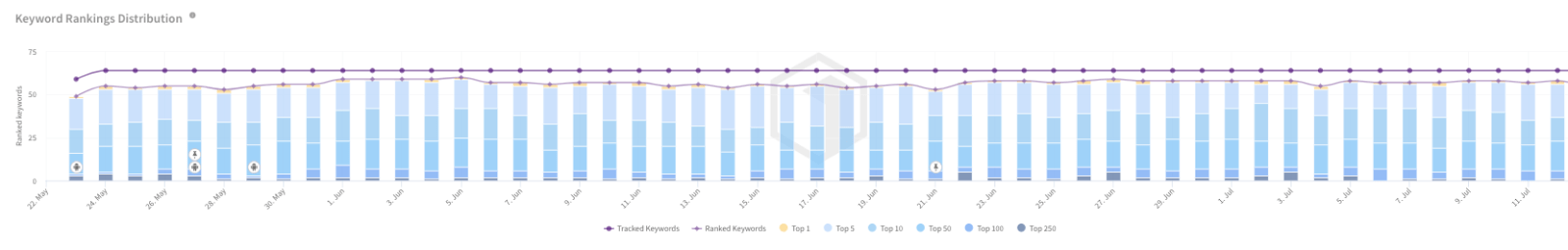 Keywords Rankings Distribution over time by TheTool