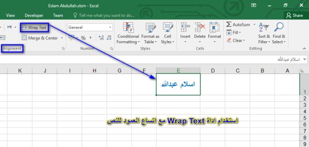 اسلام عبدالله-تغيير وضع كتابة النص فى الخليه