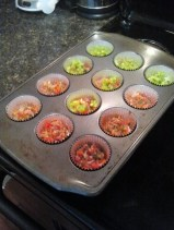 Spoon your veggie mixture into your muffin cups