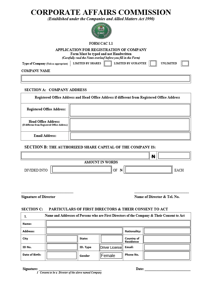 Just One Consolidated CAC Form Needed to Incorporate your Business in Nigeria: See Form Sample