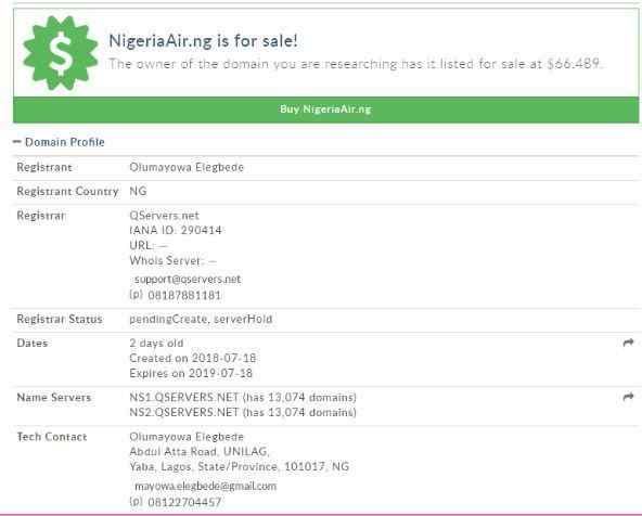 Nigeria Air Domain Registration in Domain Flipping Business in Nigeria