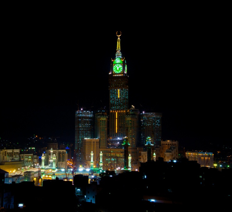 Night view of Abraj Al Bait