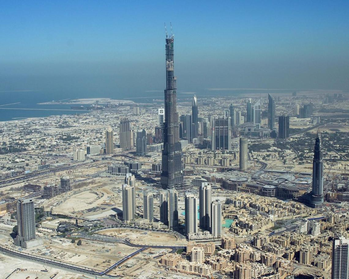 Burj Khalifa seen under construction