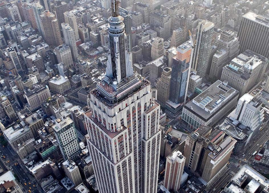 An aerial view of the observation deck on Empire State Building