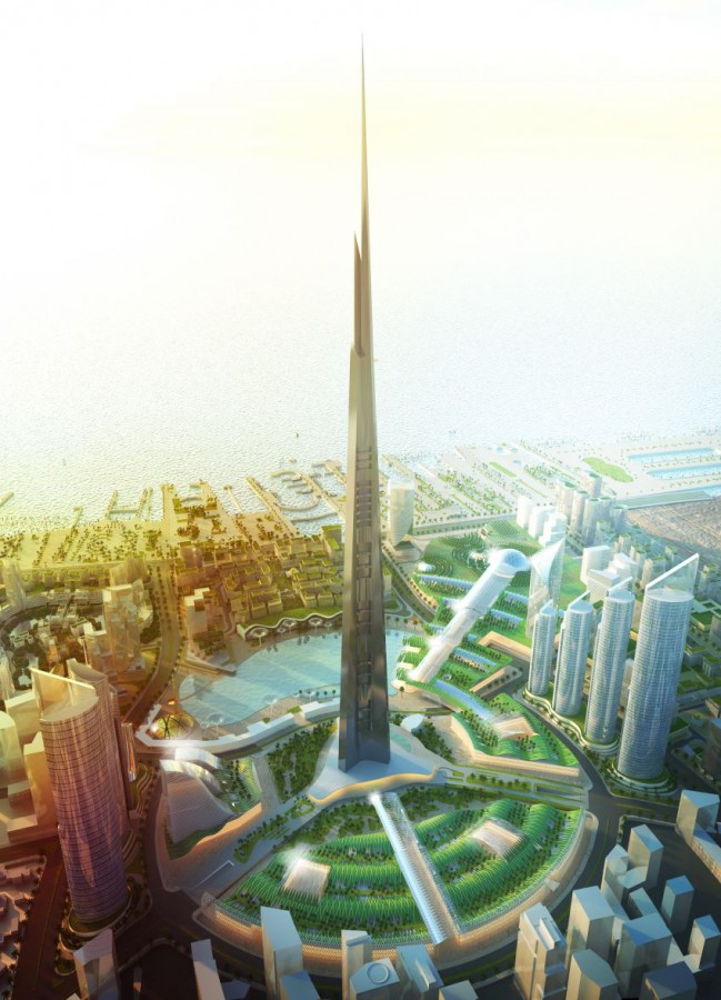 The rendering of Jeddah Tower