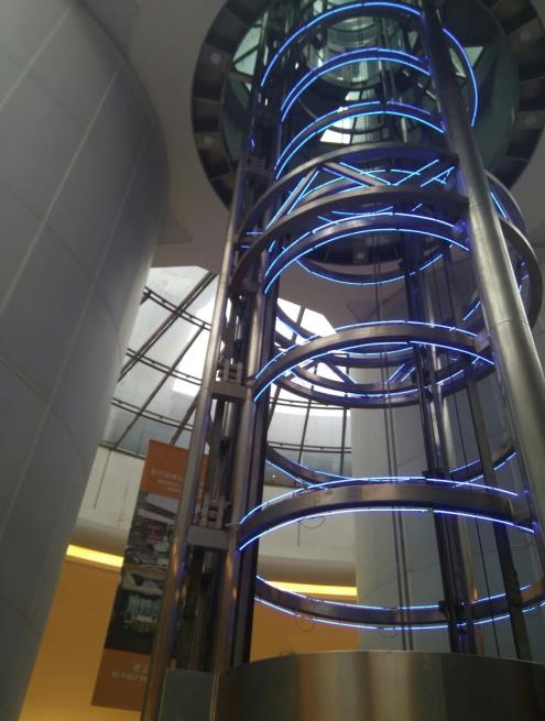 The elevator shaft of Oriental Pearl Tower