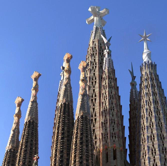 The symbols atop the towers of Sagrada Familia