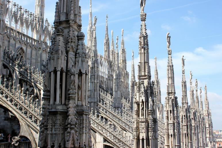The spires on the roof of Milan Cathedral