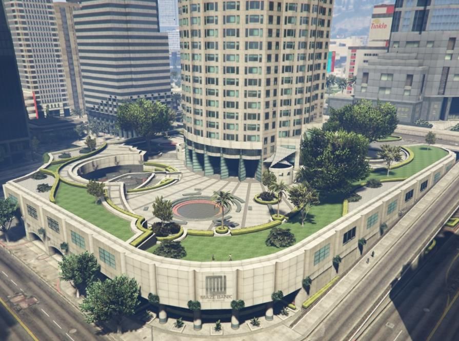 The plaza at the Maze Bank Tower's base