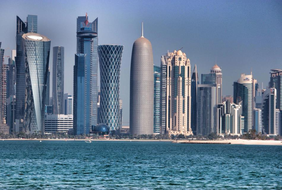 Doha Tower seen from the gulf