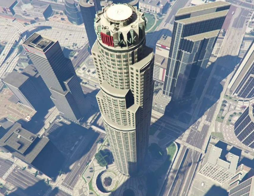 An aerial view of the Maze Bank Tower