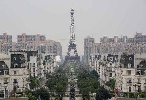 A replica of the Eiffel Tower in Hangzhou