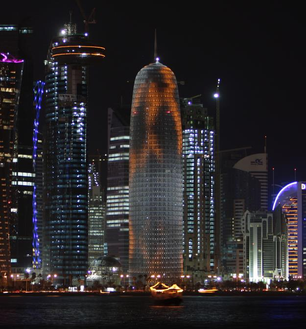 Night view of Doha Tower